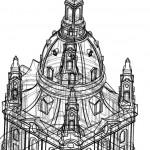 Darstellung der Frauenkirche im CAD-Zeichenprogramm